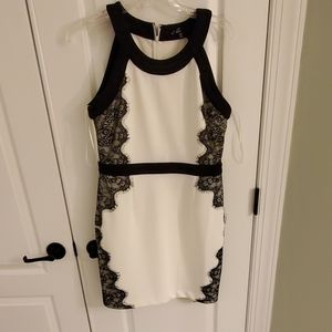 White and black lace dress
